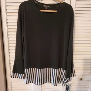 INC Black Sweater with black & white blouse includ